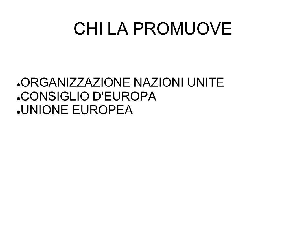 CHI LA PROMUOVE ORGANIZZAZIONE NAZIONI UNITE CONSIGLIO D'EUROPA UNIONE EUROPEA