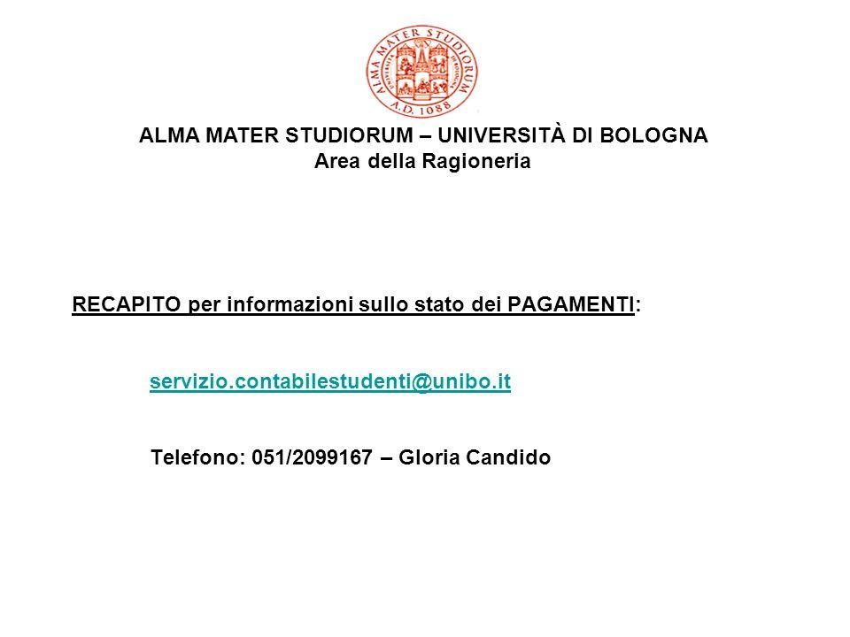 RECAPITO per informazioni sullo stato dei PAGAMENTI: servizio.contabilestudenti@unibo.it Telefono: 051/2099167 – Gloria Candido servizio.contabilestud
