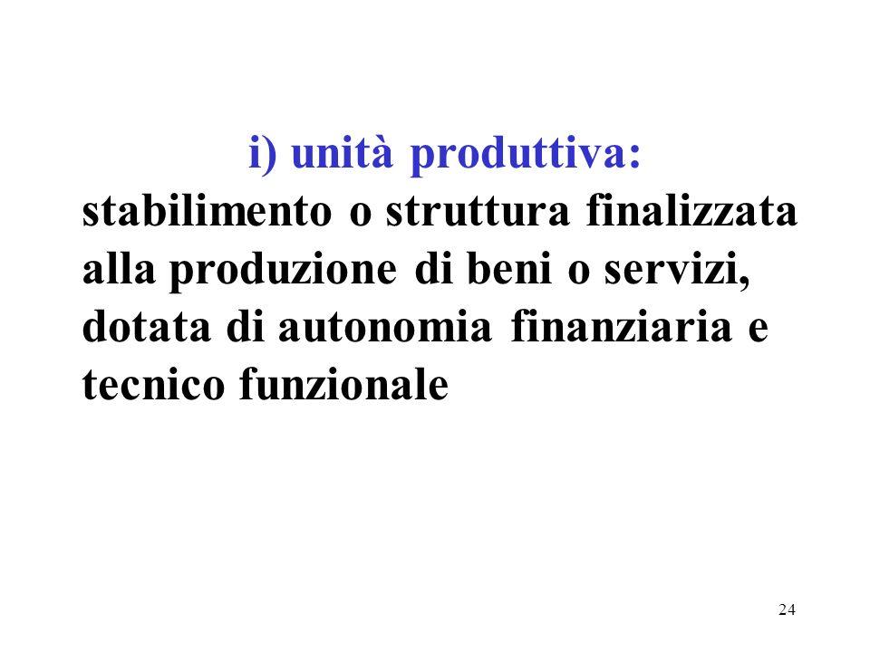 24 i) unità produttiva: stabilimento o struttura finalizzata alla produzione di beni o servizi, dotata di autonomia finanziaria e tecnico funzionale