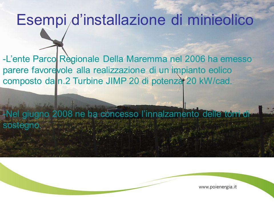 Esempi dinstallazione di minieolico -Lente Parco Regionale Della Maremma nel 2006 ha emesso parere favorevole alla realizzazione di un impianto eolico