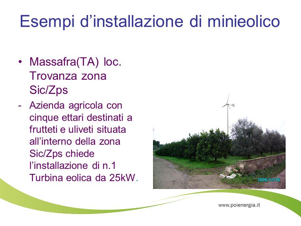 Esempi dinstallazione di minieolico Massafra(TA) loc. Trovanza zona Sic/Zps -Azienda agricola con cinque ettari destinati a frutteti e uliveti situata