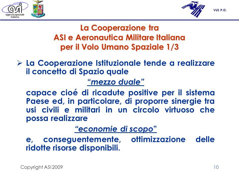 VUS P.O. Copyright ASI 200910 La Cooperazione tra ASI e Aeronautica Militare Italiana per il Volo Umano Spaziale 1/3 La Cooperazione Istituzionale ten