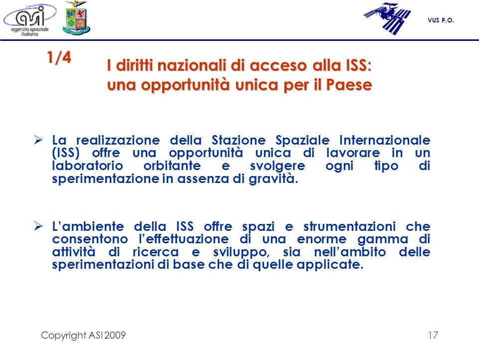 VUS P.O. Copyright ASI 200917 I diritti nazionali di acceso alla ISS: una opportunità unica per il Paese La realizzazione della Stazione Spaziale Inte