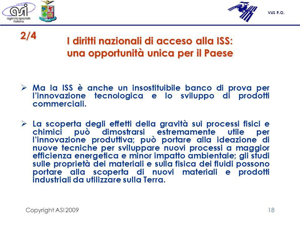 VUS P.O. Copyright ASI 200918 I diritti nazionali di acceso alla ISS: una opportunità unica per il Paese Ma la ISS è anche un insostituibile banco di