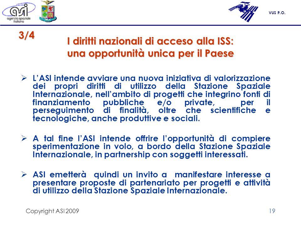 VUS P.O. Copyright ASI 200919 I diritti nazionali di acceso alla ISS: una opportunità unica per il Paese LASI intende avviare una nuova iniziativa di