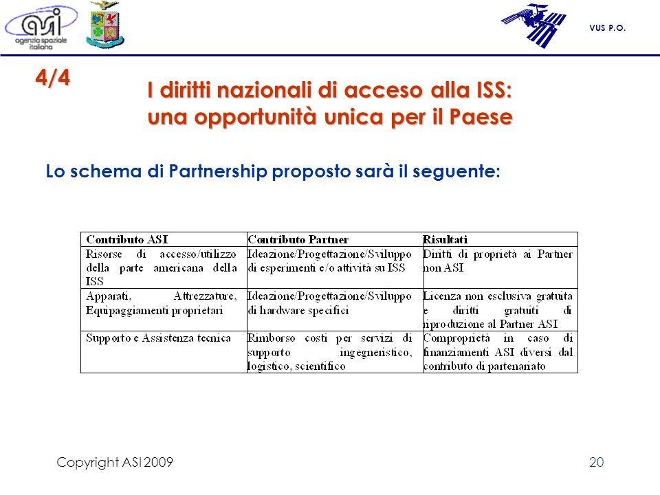 VUS P.O. Copyright ASI 200920 I diritti nazionali di acceso alla ISS: una opportunità unica per il Paese Lo schema di Partnership proposto sarà il seg