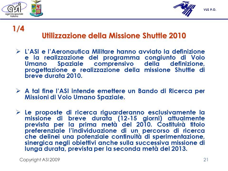 VUS P.O. Copyright ASI 200921 Utilizzazione della Missione Shuttle 2010 LASI e lAeronautica Militare hanno avviato la definizione e la realizzazione d