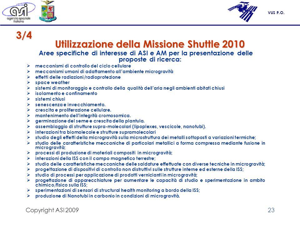VUS P.O. Copyright ASI 200923 Utilizzazione della Missione Shuttle 2010 Aree specifiche di interesse di ASI e AM per la presentazione delle proposte d