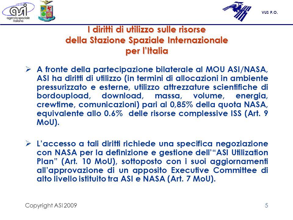 VUS P.O. Copyright ASI 20095 I diritti di utilizzo sulle risorse della Stazione Spaziale Internazionale per lItalia A fronte della partecipazione bila