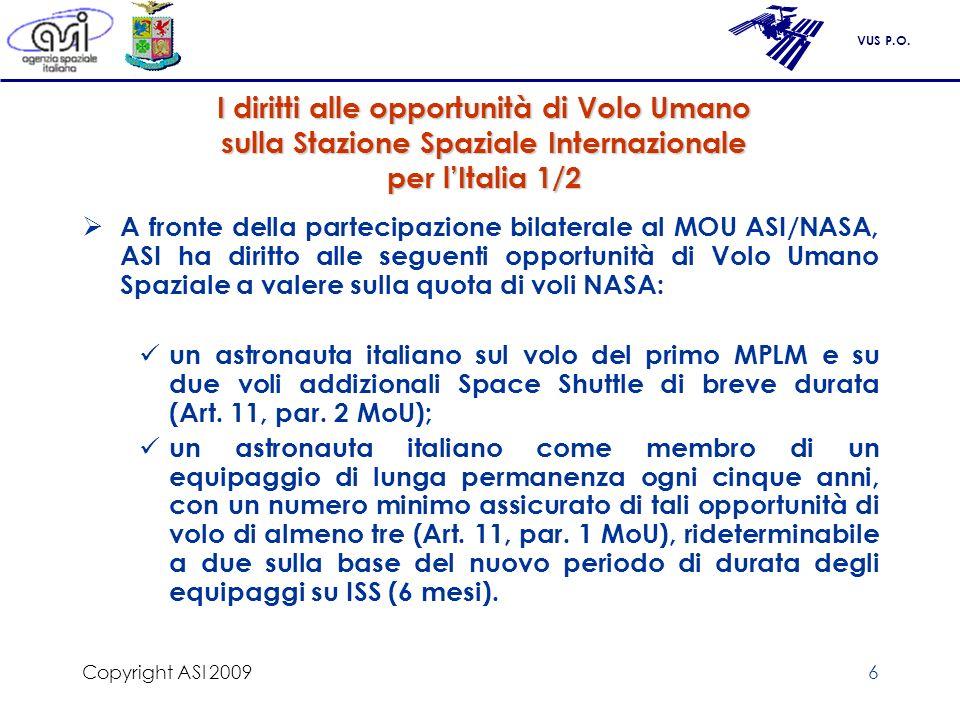 VUS P.O. Copyright ASI 20096 I diritti alle opportunità di Volo Umano sulla Stazione Spaziale Internazionale per lItalia 1/2 A fronte della partecipaz