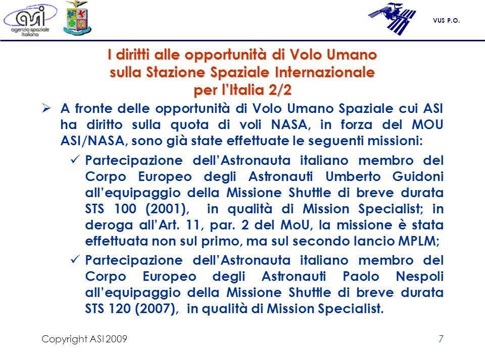 VUS P.O. Copyright ASI 20097 I diritti alle opportunità di Volo Umano sulla Stazione Spaziale Internazionale per lItalia 2/2 A fronte delle opportunit