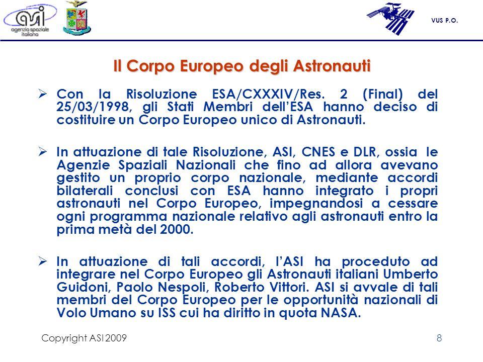VUS P.O. Copyright ASI 20098 Il Corpo Europeo degli Astronauti Con la Risoluzione ESA/CXXXIV/Res. 2 (Final) del 25/03/1998, gli Stati Membri dellESA h