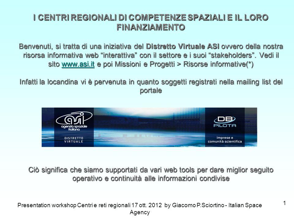 Presentation workshop Centri e reti regionali 17 ott. 2012 by Giacomo P.Sciortino - Italian Space Agency 1 I CENTRI REGIONALI DI COMPETENZE SPAZIALI E