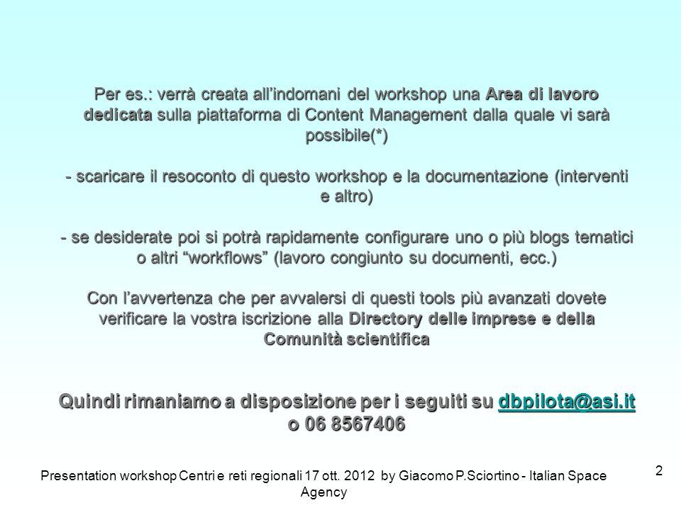 Presentation workshop Centri e reti regionali 17 ott. 2012 by Giacomo P.Sciortino - Italian Space Agency 2 Per es.: verrà creata allindomani del works