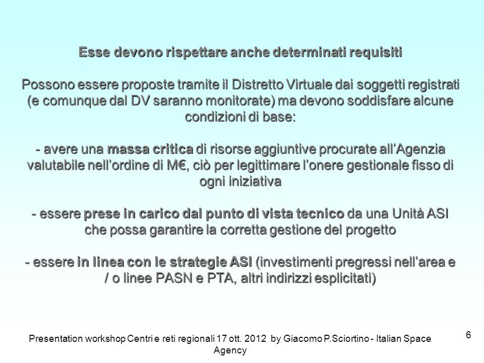 Presentation workshop Centri e reti regionali 17 ott. 2012 by Giacomo P.Sciortino - Italian Space Agency 6 Esse devono rispettare anche determinati re