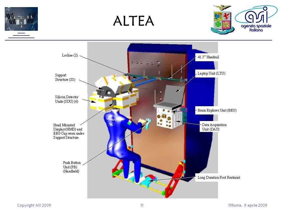 Copyright ASI 20091111Roma, 9 aprile 2009 ALTEA