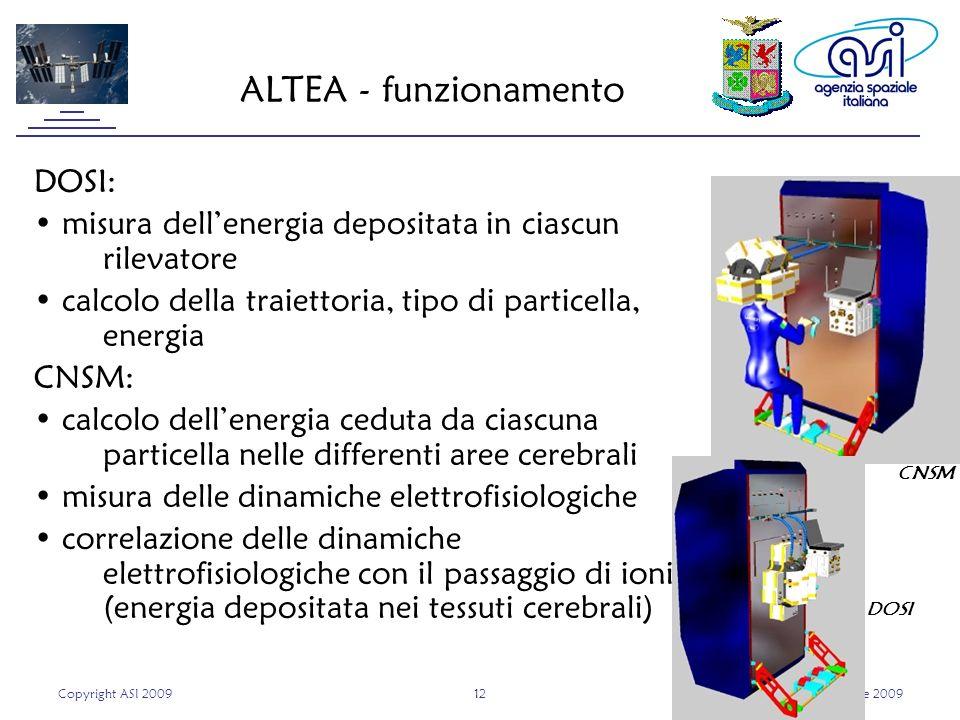 Copyright ASI 20091212Roma, 9 aprile 2009 ALTEA - funzionamento DOSI: misura dellenergia depositata in ciascun rilevatore calcolo della traiettoria, tipo di particella, energia CNSM: calcolo dellenergia ceduta da ciascuna particella nelle differenti aree cerebrali misura delle dinamiche elettrofisiologiche correlazione delle dinamiche elettrofisiologiche con il passaggio di ioni (energia depositata nei tessuti cerebrali) DOSI CNSM