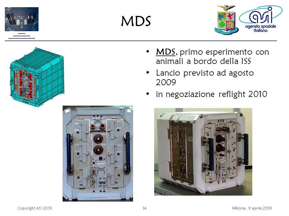 Copyright ASI 20091414Roma, 9 aprile 2009 MDS MDS, primo esperimento con animali a bordo della ISS Lancio previsto ad agosto 2009 in negoziazione reflight 2010