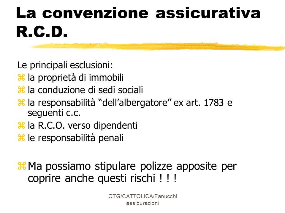 CTG/CATTOLICA/Fanucchi assicurazioni La convenzione assicurativa R.C.D.