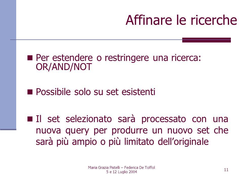 Maria Grazia Pistelli – Federica De Toffol 5 e 12 Luglio 2004 11 Per estendere o restringere una ricerca: OR/AND/NOT Possibile solo su set esistenti I