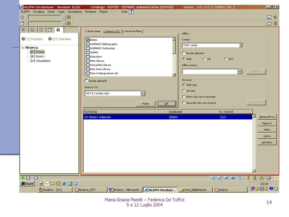 Maria Grazia Pistelli – Federica De Toffol 5 e 12 Luglio 2004 14