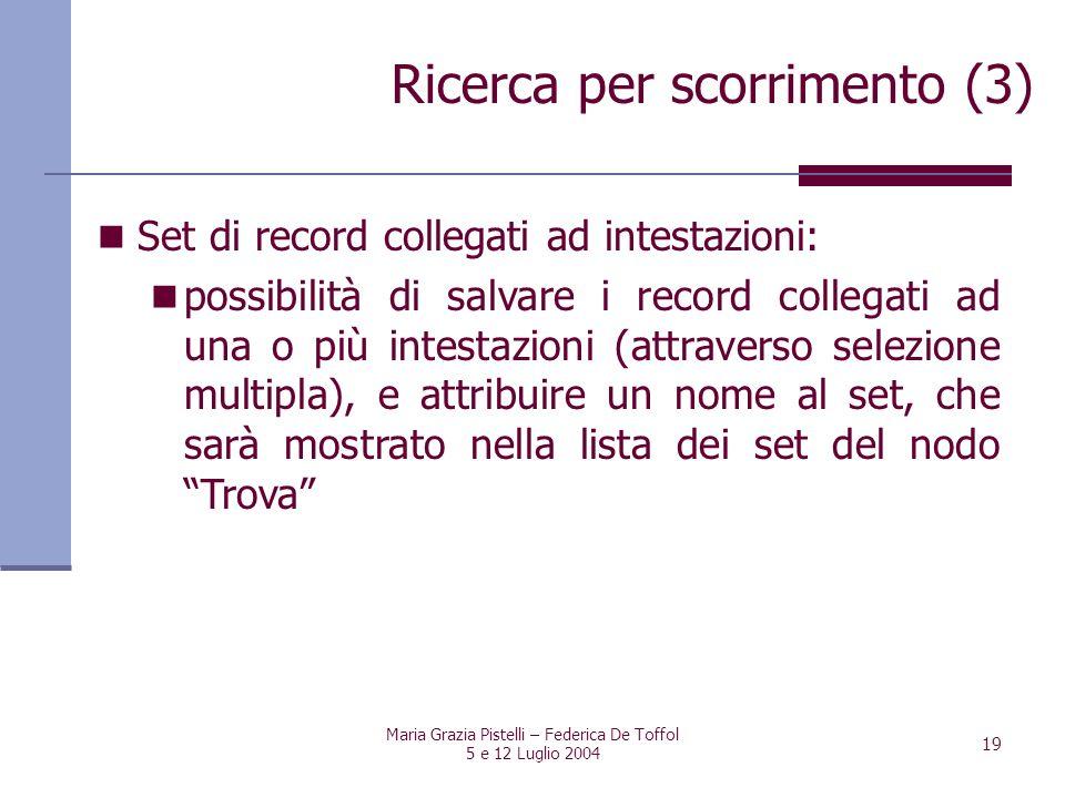 Maria Grazia Pistelli – Federica De Toffol 5 e 12 Luglio 2004 19 Set di record collegati ad intestazioni: possibilità di salvare i record collegati ad