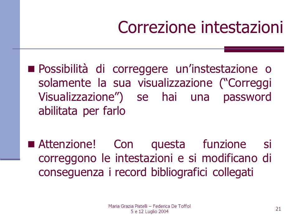 Maria Grazia Pistelli – Federica De Toffol 5 e 12 Luglio 2004 21 Possibilità di correggere uninstestazione o solamente la sua visualizzazione (Corregg
