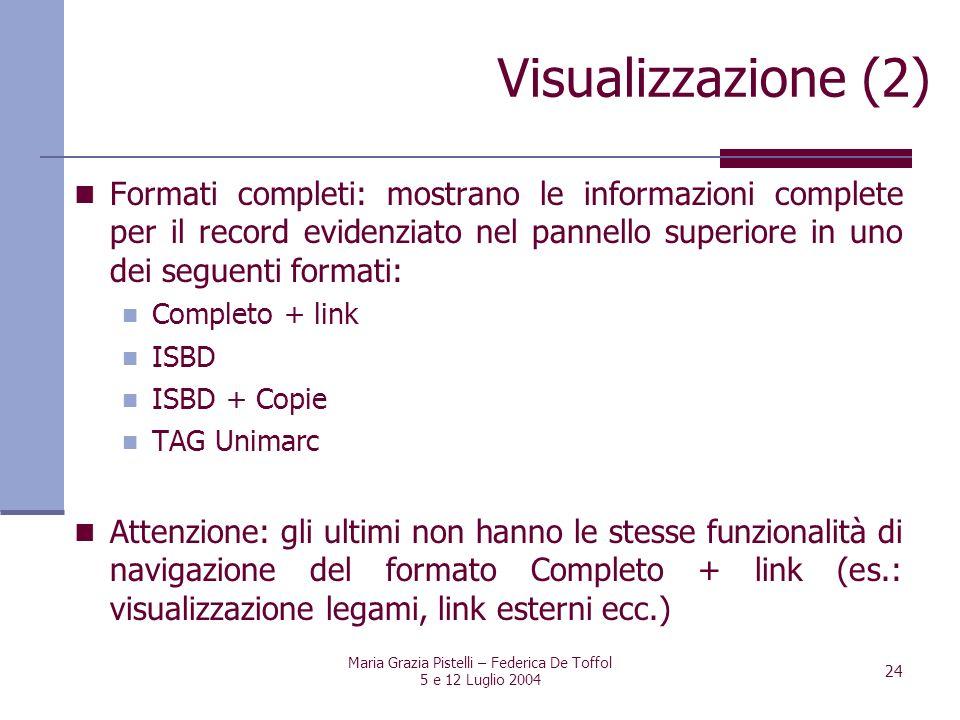 Maria Grazia Pistelli – Federica De Toffol 5 e 12 Luglio 2004 24 Formati completi: mostrano le informazioni complete per il record evidenziato nel pan