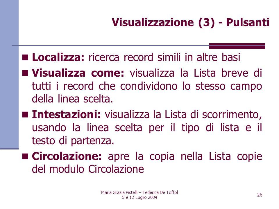 Maria Grazia Pistelli – Federica De Toffol 5 e 12 Luglio 2004 26 Localizza: ricerca record simili in altre basi Visualizza come: visualizza la Lista b