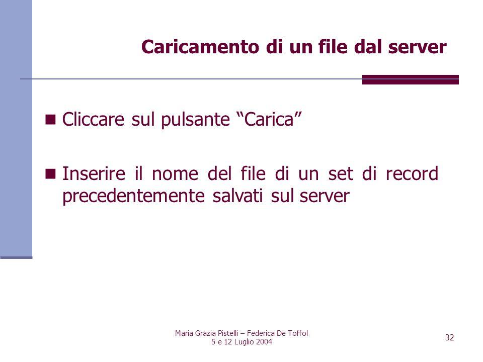 Maria Grazia Pistelli – Federica De Toffol 5 e 12 Luglio 2004 32 Cliccare sul pulsante Carica Inserire il nome del file di un set di record precedente