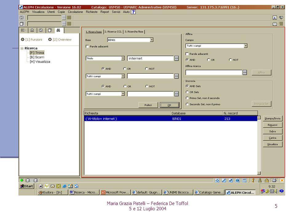 Maria Grazia Pistelli – Federica De Toffol 5 e 12 Luglio 2004 5