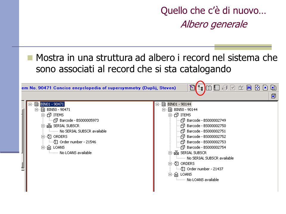Quello che cè di nuovo… Albero generale Mostra in una struttura ad albero i record nel sistema che sono associati al record che si sta catalogando