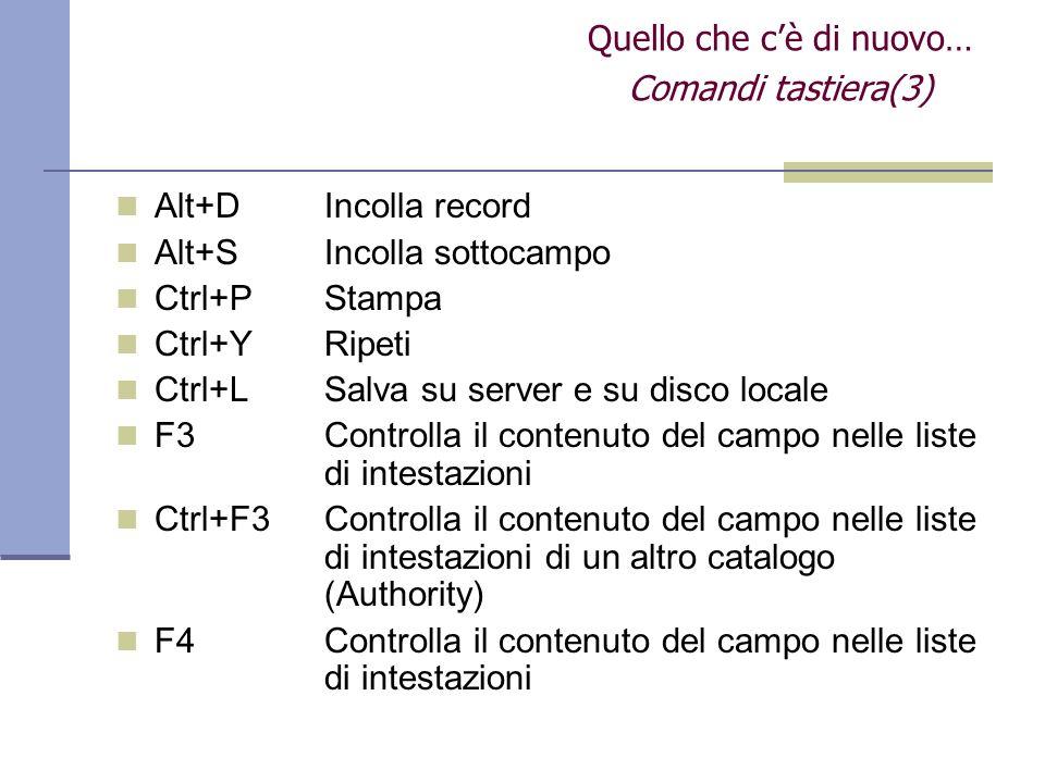Alt+DIncolla record Alt+SIncolla sottocampo Ctrl+PStampa Ctrl+YRipeti Ctrl+LSalva su server e su disco locale F3Controlla il contenuto del campo nelle liste di intestazioni Ctrl+F3Controlla il contenuto del campo nelle liste di intestazioni di un altro catalogo (Authority) F4Controlla il contenuto del campo nelle liste di intestazioni Quello che cè di nuovo… Comandi tastiera(3)