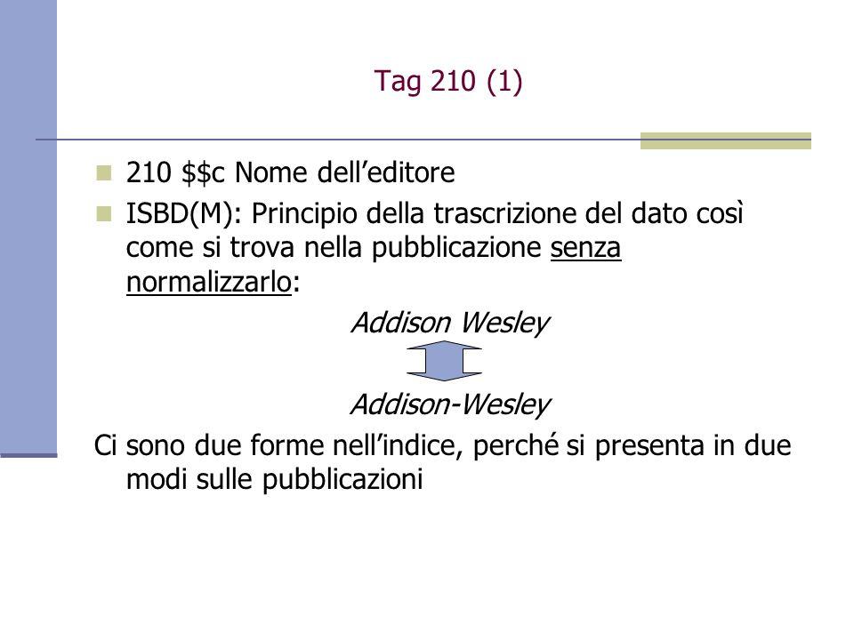 Tag 210 (1) 210 $$c Nome delleditore ISBD(M): Principio della trascrizione del dato così come si trova nella pubblicazione senza normalizzarlo: Addison Wesley Addison-Wesley Ci sono due forme nellindice, perché si presenta in due modi sulle pubblicazioni