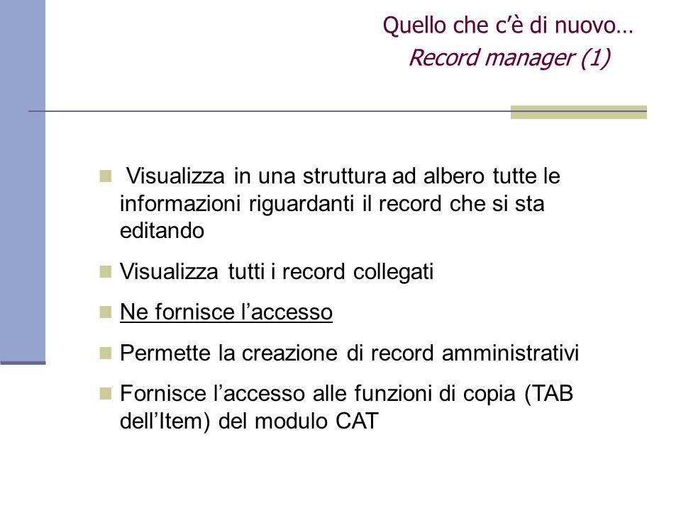 Quello che cè di nuovo… Record manager (1) Visualizza in una struttura ad albero tutte le informazioni riguardanti il record che si sta editando Visua