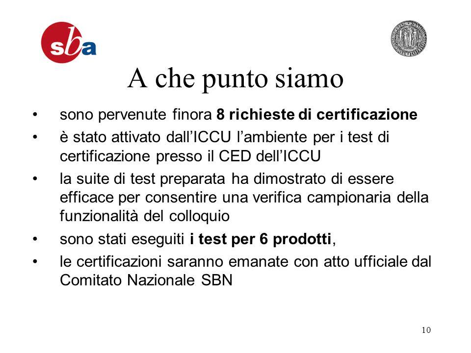 10 A che punto siamo sono pervenute finora 8 richieste di certificazione è stato attivato dallICCU lambiente per i test di certificazione presso il CE