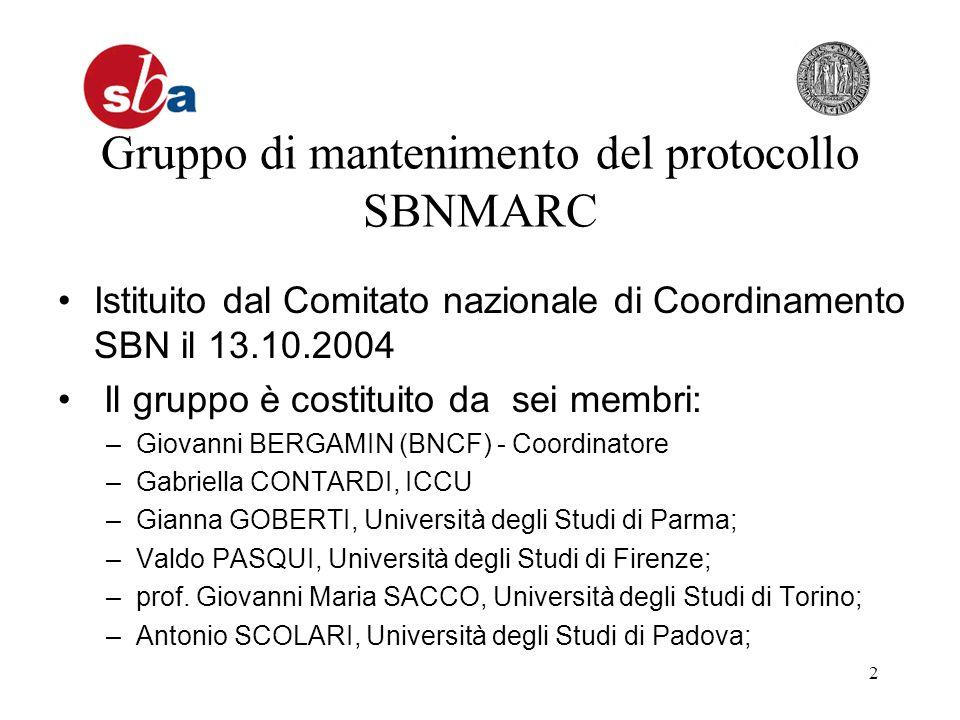 2 Gruppo di mantenimento del protocollo SBNMARC Istituito dal Comitato nazionale di Coordinamento SBN il 13.10.2004 Il gruppo è costituito da sei memb