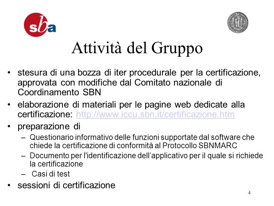 4 Attività del Gruppo stesura di una bozza di iter procedurale per la certificazione, approvata con modifiche dal Comitato nazionale di Coordinamento