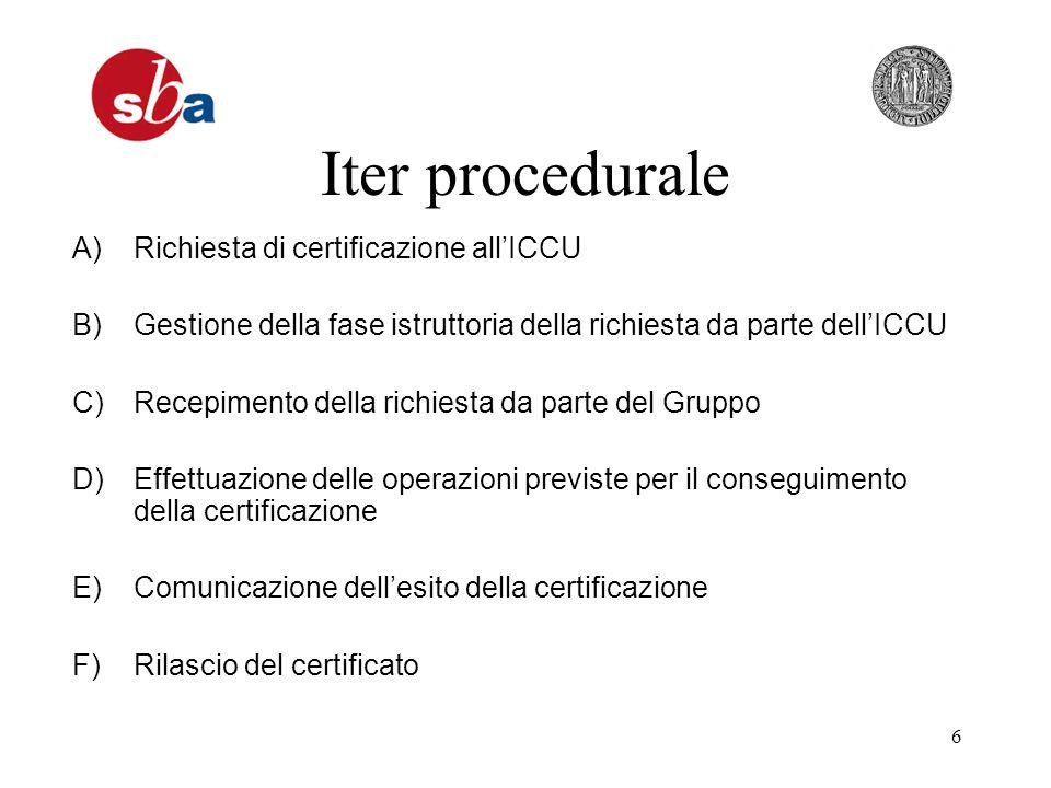 6 Iter procedurale A)Richiesta di certificazione allICCU B)Gestione della fase istruttoria della richiesta da parte dellICCU C)Recepimento della richiesta da parte del Gruppo D)Effettuazione delle operazioni previste per il conseguimento della certificazione E)Comunicazione dellesito della certificazione F)Rilascio del certificato