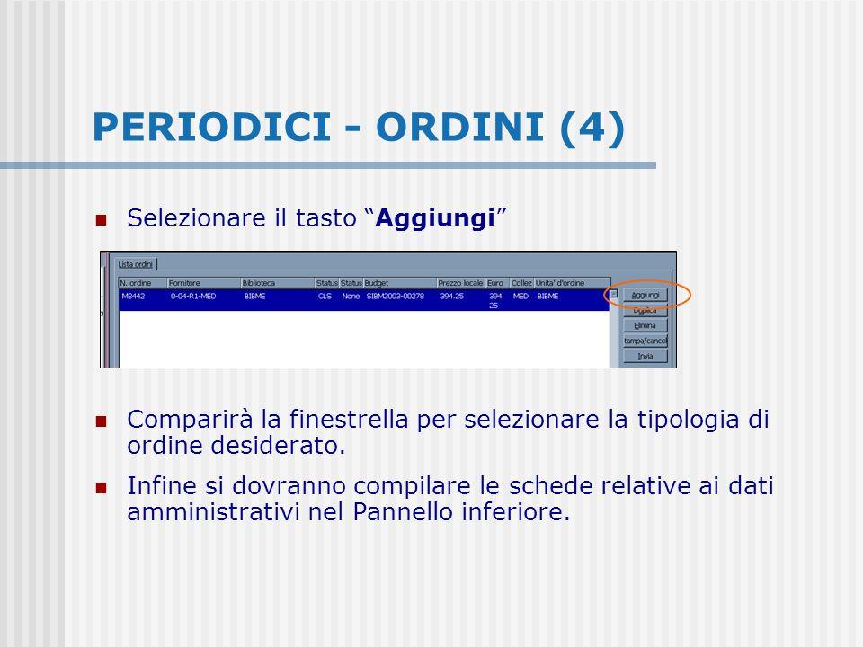 Selezionare il tasto Aggiungi Comparirà la finestrella per selezionare la tipologia di ordine desiderato.