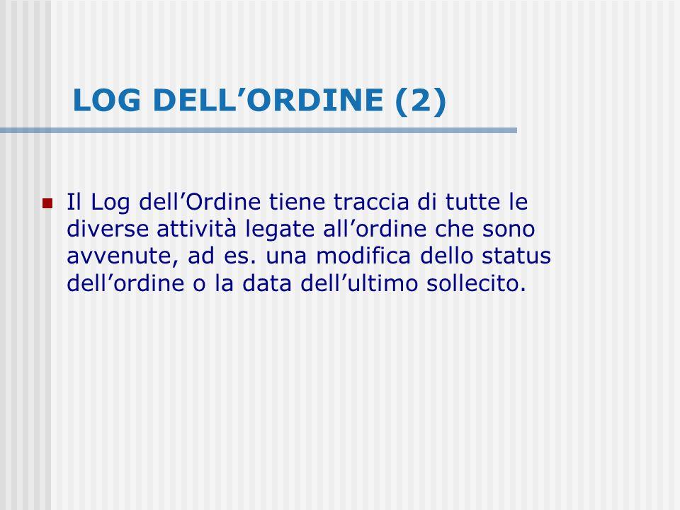 LOG DELLORDINE (2) Il Log dellOrdine tiene traccia di tutte le diverse attività legate allordine che sono avvenute, ad es.