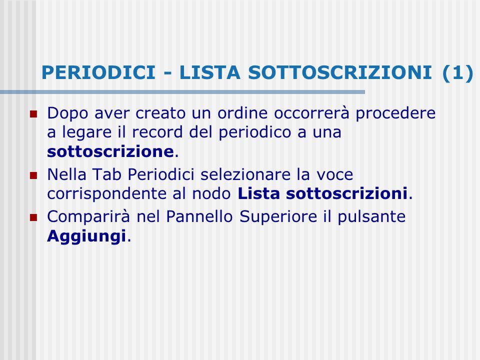 PERIODICI - LISTA SOTTOSCRIZIONI (1) Dopo aver creato un ordine occorrerà procedere a legare il record del periodico a una sottoscrizione.