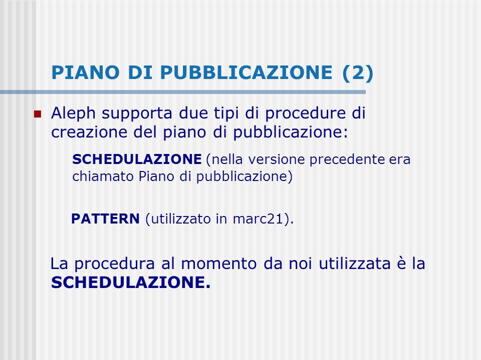 PIANO DI PUBBLICAZIONE (2) Aleph supporta due tipi di procedure di creazione del piano di pubblicazione: SCHEDULAZIONE (nella versione precedente era chiamato Piano di pubblicazione) PATTERN (utilizzato in marc21).