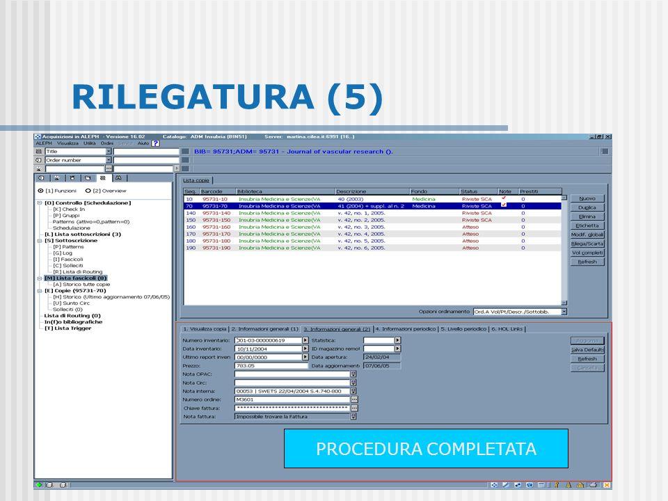 RILEGATURA (5) PROCEDURA COMPLETATA
