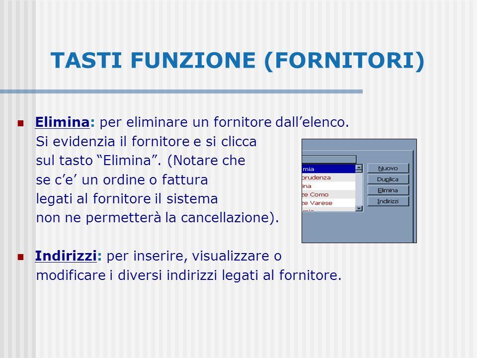 TASTI FUNZIONE (FORNITORI) Elimina: per eliminare un fornitore dallelenco. Si evidenzia il fornitore e si clicca sul tasto Elimina. (Notare che se ce