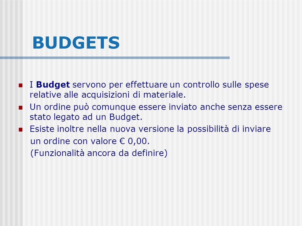 BUDGETS I Budget servono per effettuare un controllo sulle spese relative alle acquisizioni di materiale. Un ordine può comunque essere inviato anche