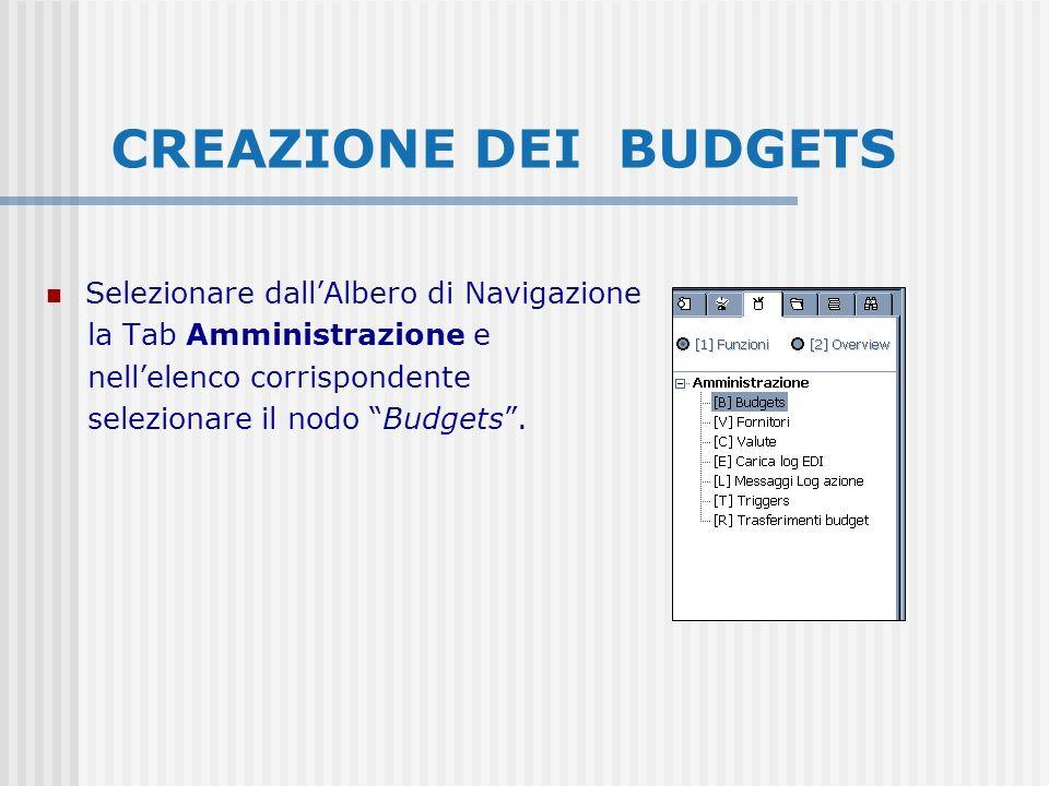 CREAZIONE DEI BUDGETS Selezionare dallAlbero di Navigazione la Tab Amministrazione e nellelenco corrispondente selezionare il nodo Budgets.