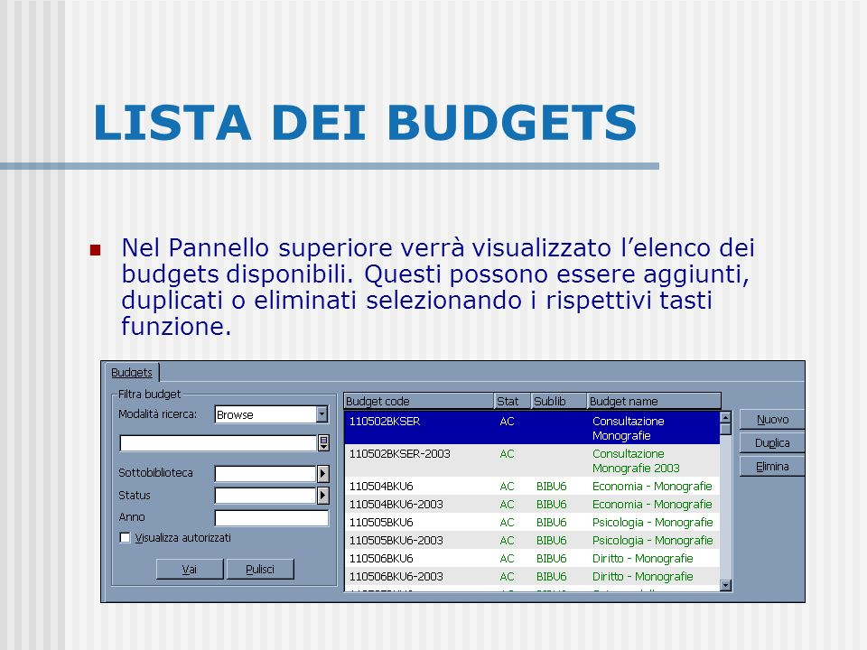 LISTA DEI BUDGETS Nel Pannello superiore verrà visualizzato lelenco dei budgets disponibili. Questi possono essere aggiunti, duplicati o eliminati sel