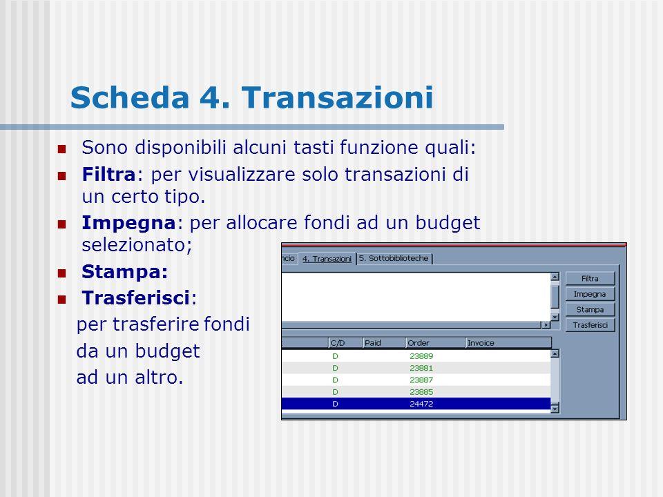 Scheda 4. Transazioni Sono disponibili alcuni tasti funzione quali: Filtra: per visualizzare solo transazioni di un certo tipo. Impegna: per allocare