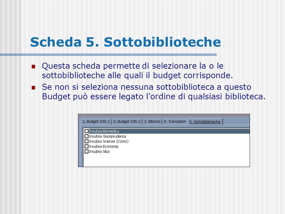 Scheda 5. Sottobiblioteche Questa scheda permette di selezionare la o le sottobiblioteche alle quali il budget corrisponde. Se non si seleziona nessun